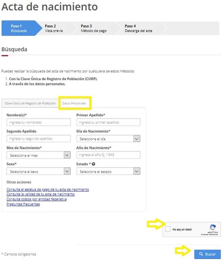 Consulta de acta de nacimiento por Internet en línea por Datos Personales