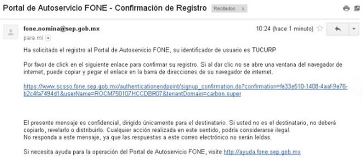 link de confirmación al Portal de Autoservicios FONE