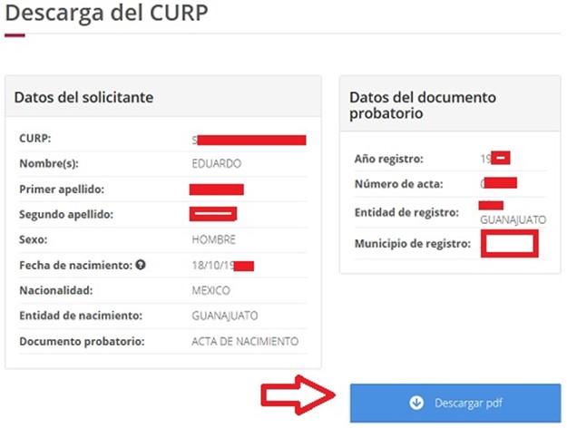 Descargar CURP en PDF