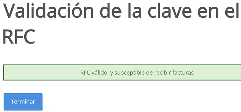 RFC valido susceptible de recibir facturas