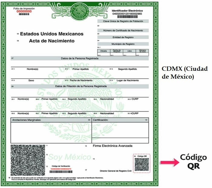 Acta de Nacimiento en Línea CDMX (Ciudad de México)